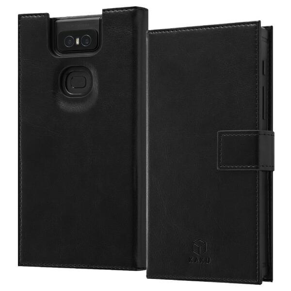 イングレムIngremZenFone6(ZS630KL)手帳型耐衝撃レザーケースKAKU/ブラックIS-RAZ6KBC3/BBブラック