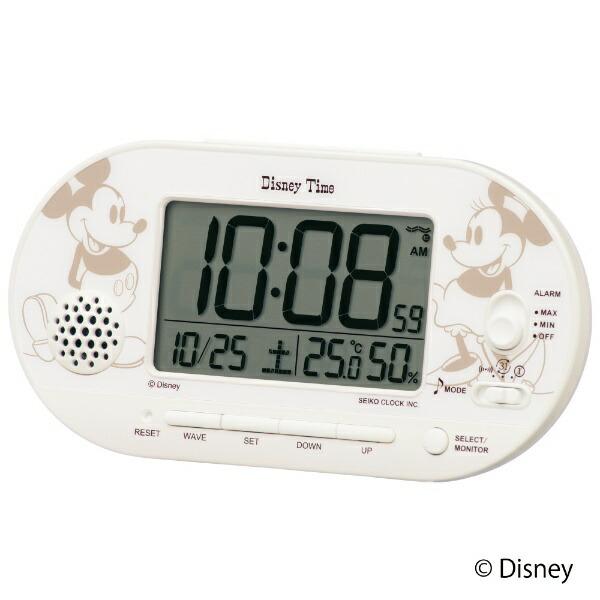 セイコーSEIKO目覚まし時計【DisneyTime(ディズニータイム)ミッキー&ミニー】白パールFD482A[デジタル/電波自動受信機能有]