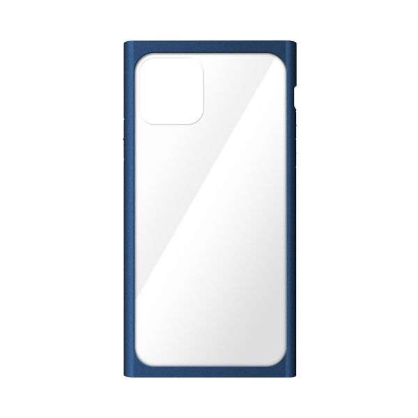 PGAiPhone11Pro5.8インチ用クリアガラスタフケーススクエア型ネイビーPG-19AGT13NV