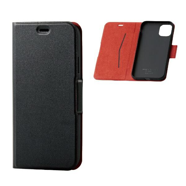 エレコムELECOMiPhone116.1インチ対応ソフトレザーケース磁石付薄型ブラックPM-A19CPLFUBK
