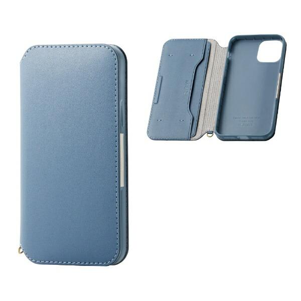 エレコムELECOMiPhone11Pro5.8インチ対応ソフトレザーケース磁石付ブルーPM-A19BPLFY2BU