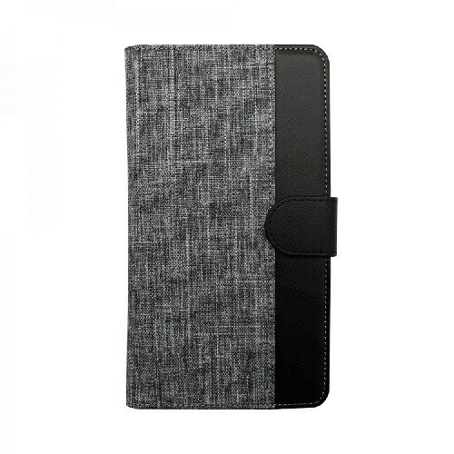OWLTECHオウルテック大型スマートフォン対応ホルダータイプファブリック生地×PUレザー手帳型マルチケースOWL-CVMUL01-GYBKグレーxブラック