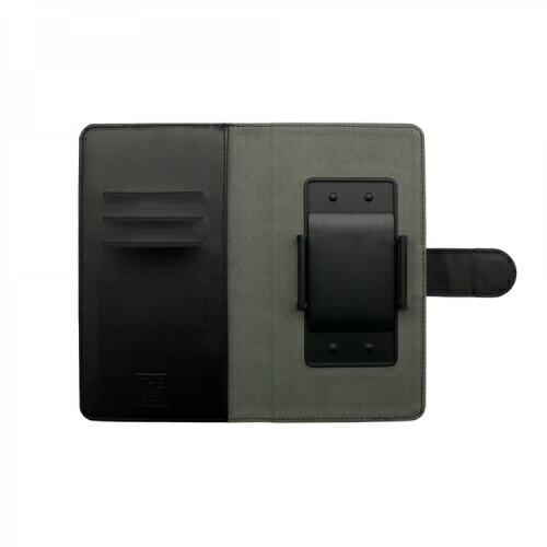OWLTECHオウルテック大型スマートフォン対応ホルダータイプファブリック生地×PUレザー手帳型マルチケースOWL-CVMUL01-NVBKネイビーxブラック
