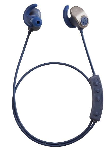 オーディオテクニカaudio-technicaブルートゥースイヤホンゴールドネイビATH-SPORT90BTGNV[リモコン・マイク対応/ワイヤレス(左右コード)/Bluetooth][ATHSPORT90BTGNV]