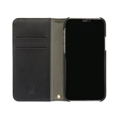OWLTECHオウルテックiPhone11ProMax6.5インチ用カード収納ポケット付き手帳型ケースOWL-CVIB6503-GYBKグレーxブラック