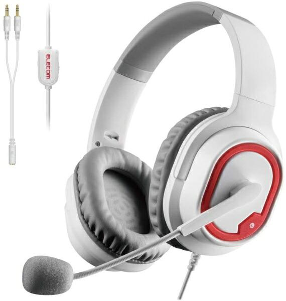 エレコムELECOMHS-G30WHゲーミングヘッドセットホワイト[φ3.5mmミニプラグ/両耳/ヘッドバンドタイプ][HSG30WH]