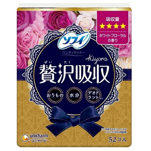ユニチャームunicharmsofy(ソフィ)Kiyora贅沢吸収ホワイトフローラル少し多い用(52枚)