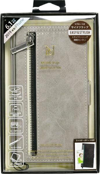 ナチュラルデザインNATURALdesigniPhone116.1インチ専用手帳型ケースz-lineGrayiP19_61-ZL02