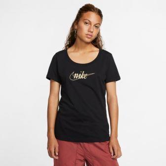 ナイキNIKEレディースTシャツ半袖グリッター1(Sサイズ/ブラック×ゴールド)CI9366[コットン]