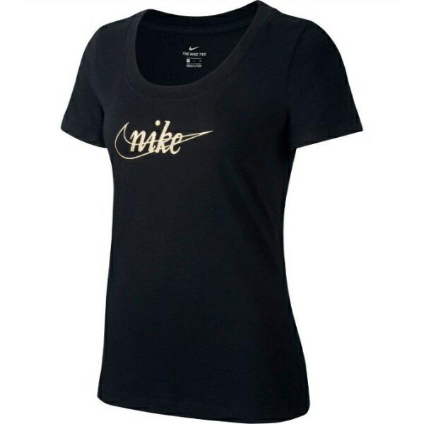 ナイキNIKEレディースTシャツ半袖グリッター1(Mサイズ/ブラック×ゴールド)CI9366