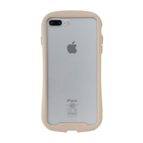 HAMEEハミィ[iPhone8Plus/7Plus専用]iFaceReflection強化ガラスクリアケース41-907504ベージュ