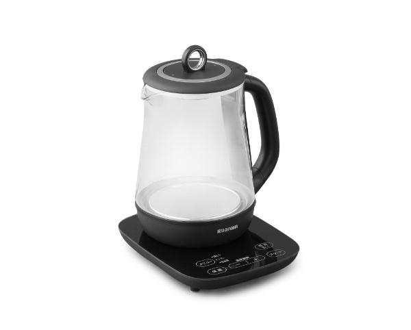 アイリスオーヤマIRISOHYAMAガラスケトルブラックIKE-G1500T-B[電気ケトルおしゃれ保温温度調節][IKEG1500TB]
