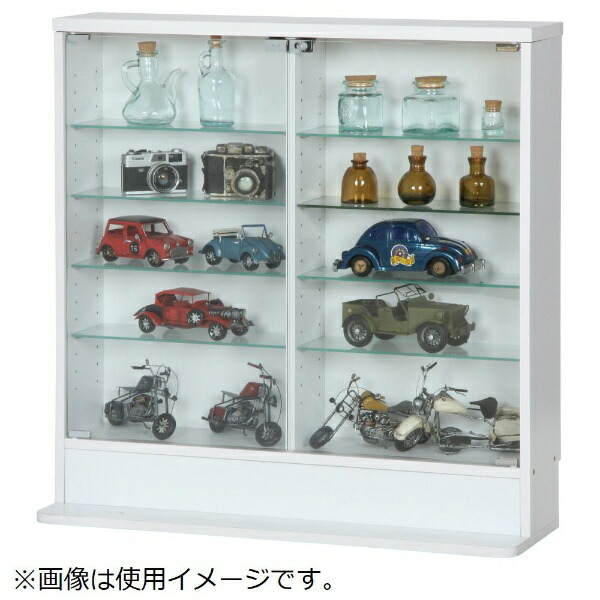 不二貿易FujiBoekiガラスコレクションケース5段ロータイプ浅型ホワイト(高さ90cm)