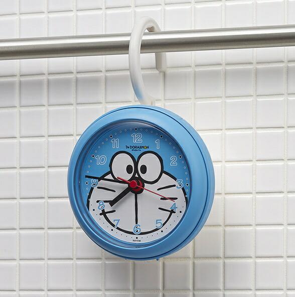 リズム時計RHYTHM掛け時計強化防滴・防塵型掛置兼用バスクロックアイムドラえもん青4KG716DR04