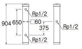 三栄水栓SANEI木目調水栓柱T803BW60X900D
