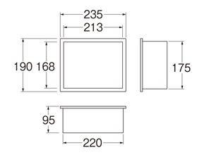 三栄水栓SANEIカギ付散水栓ボックス(壁面用)R813K190X235