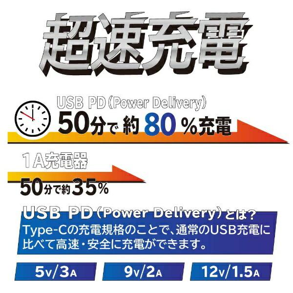 OWLTECHオウルテックPD対応PowerDelivery3.0対応ACアダプター最大出力18WPowerDelivery対応Type-CtoType-C超タフケーブル付属ブラックOWL-APD18KCC15-BK