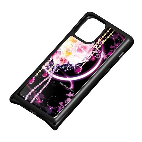 藤家FujiyaiPhone11Pro幻想デザインガラスハイブリッドH.幻想ピンクローズghp7053-bk-h-ip11pro