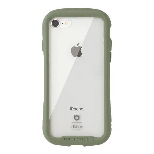 HAMEEハミィiPhoneSE(第2世代)4.7インチ/iPhone8/7専用iFaceReflection強化ガラスクリアケースiFaceカーキ41-907511