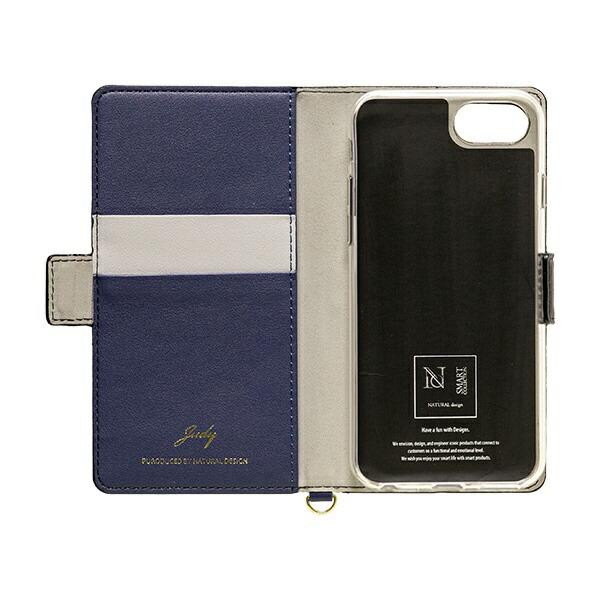 ナチュラルデザインNATURALdesigniPhone8/7/6s/6専用手帳型ケースJUDYGray×NavyiP7-JUDY03