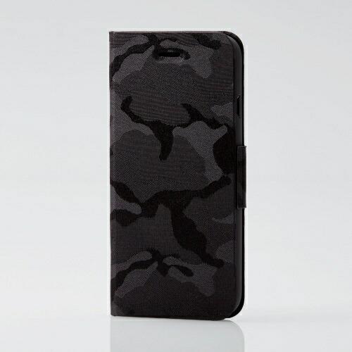 エレコムELECOMiPhoneSE(第2世代)4.7インチ対応ファブリックケース薄型カモフラ磁石付ブラックPM-A19APLFUCFBK