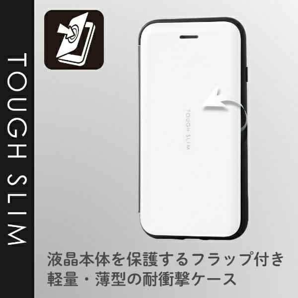 エレコムELECOMiPhoneSE(第2世代)4.7インチ対応TOUGHSLIMシェルフラップホワイトPM-A19ATSSWH