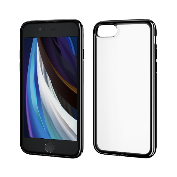 エレコムELECOMiPhoneSE(第2世代)4.7インチ対応ソフトケース極みサイドメッキブラックPM-A19AUCTMBK