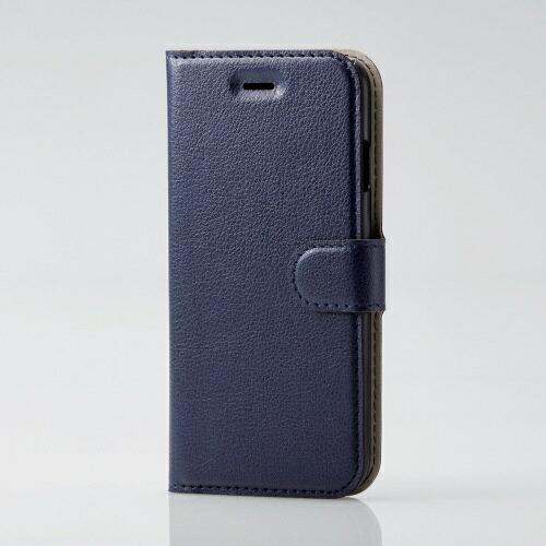 エレコムELECOMiPhoneSE(第2世代)4.7インチ対応ソフトレザーケース薄型磁石付ステッチネイビーPM-A19APLFU2NV