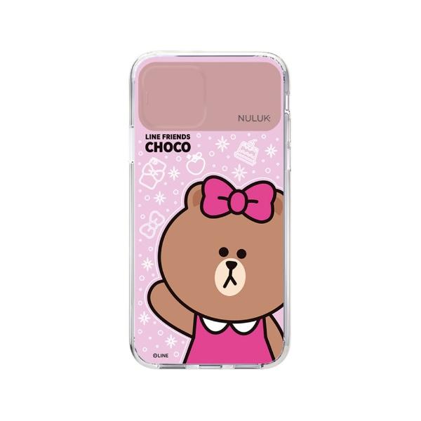 ROAロアiPhone11LIGHTUPCASEベーシックチョコLINEFRIENDSKCE-CSA021