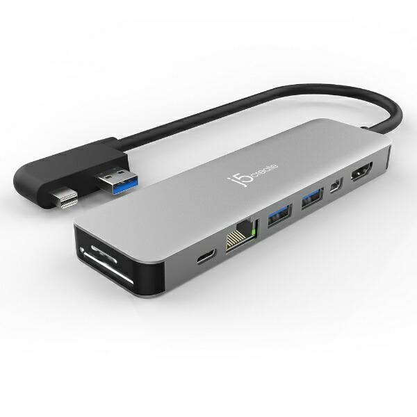 j5createジェイファイブクリエイトSurfacePro4/5/6用[USB-A/MiniDisplayPortオス→メスカードスロットx2/HDMI/MiniDisplayPort/LAN/USB-Ax2/USB-C]マルチハブシルバーJDD321S