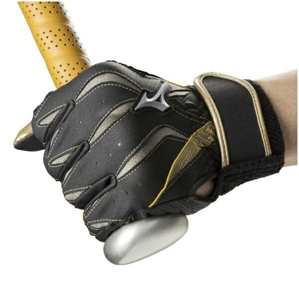 ミズノmizuno男女兼用両手用バッティンググローブMzcomp(Lサイズ/ブラック×グレー×ゴールド)1EJEA190