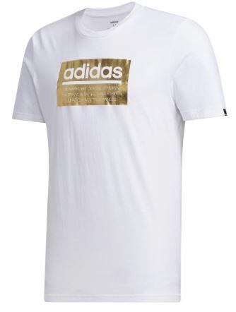 アディダスadidasメンズMグラフィックTシャツ(Oサイズ/ホワイト×ゴールドメタリック)GVB49FM6259