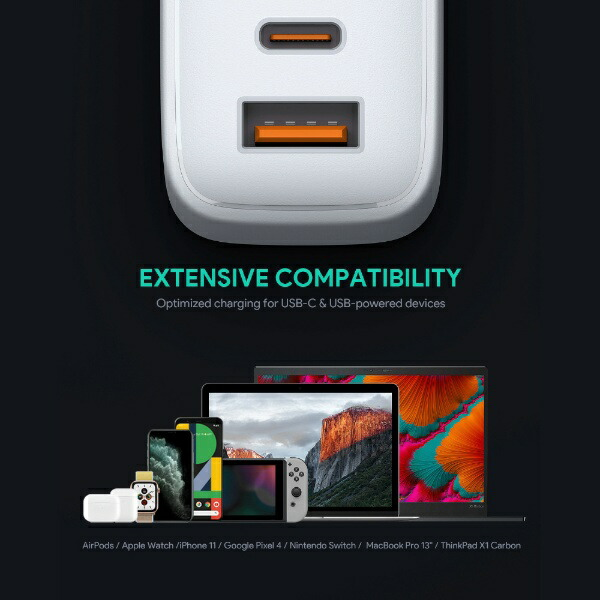 AUKEYオーキーAUKEY(オーキー)USB充電器OmniaMix65W[USB-A1ポート/USB-C1ポート]ホワイトPA-B3-WH[2ポート/USBPowerDelivery対応/GaN(窒化ガリウム)採用]