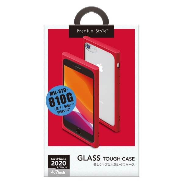 PGAiPhoneSE(第2世代)ガラスタフケースレッドPG-20MGT02RD
