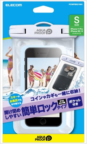 エレコムELECOMスマートフォン用防水・防塵ケースプラスチック蓋ポケット付SサイズホワイトPCWPSK01WH