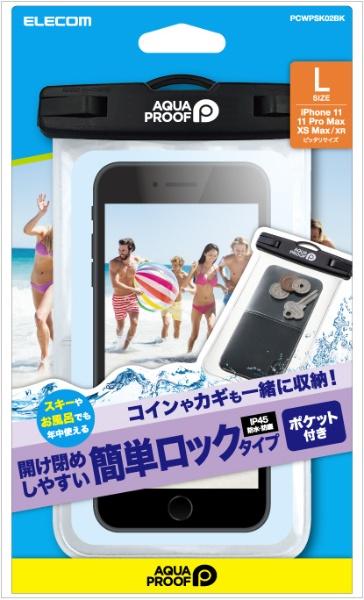 エレコムELECOMスマートフォン用防水・防塵ケースプラスチック蓋ポケット付LサイズブラックPCWPSK02BK