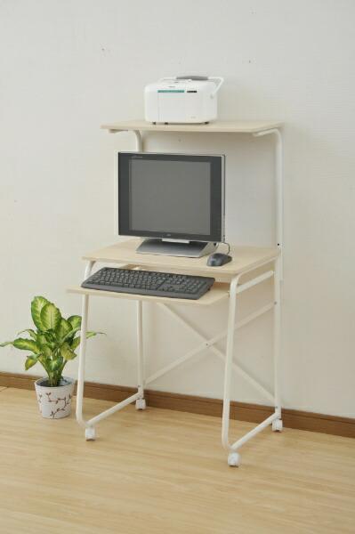 ヤマゼンYAMAZENパソコンデスク(W650xD490mm)ナチュラルメイプル/アイボリーGHP-65HC
