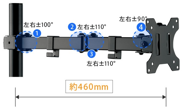 グリーンハウスGREENHOUSEモニターアーム[1画面/〜32インチ]5軸クランプ式ブラックGH-AMEA1-BK