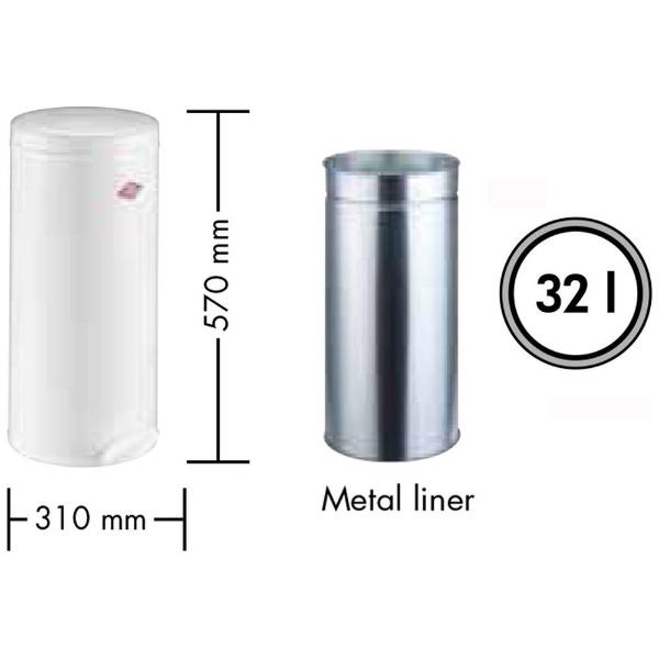 Wescoウェスコキッチンペダルビン&メタルライナー32L-128メタリックシルバー128731-03