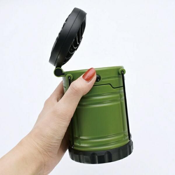 現代百貨GENDAIHYAKKALEDランタンファン機能付きBRIGHT&COOLER(φ85×H260mm/カーキ)A400KH