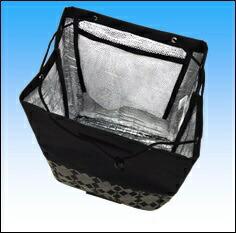 HIRANO15161-15黒花柄バレンチノヴィスカーニ/保冷ショッピングカート黒花柄15161-15