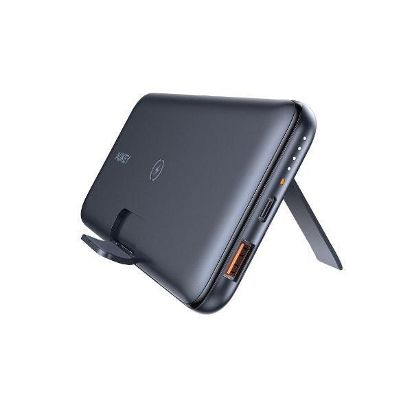 AUKEYオーキーモバイルバッテリー10Wワイヤレス機能付き折りたたみスタンドブラックPB-WL02-BK[10000mAh/USBPowerDelivery・QuickCharge対応/2ポート/充電タイプ]