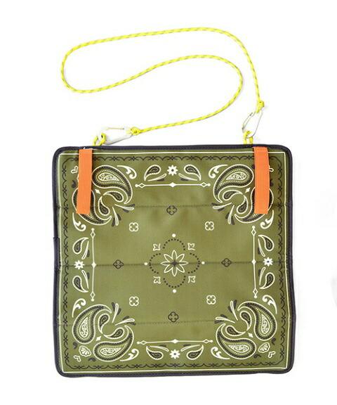 アントレックスentrexポータブルクッションペイズリー(約35×35×厚0.6cm/グリーン)50812