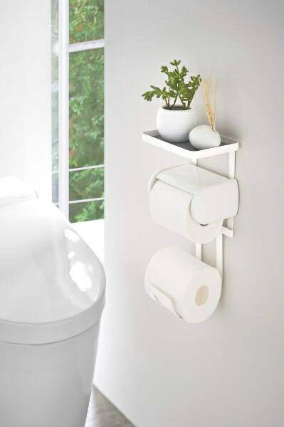 山崎実業Yamazakiトイレットペーパーホルダー上ラック2段プレートホワイト(ToiletPaperHolderRackPlateDouble)ホワイト4436