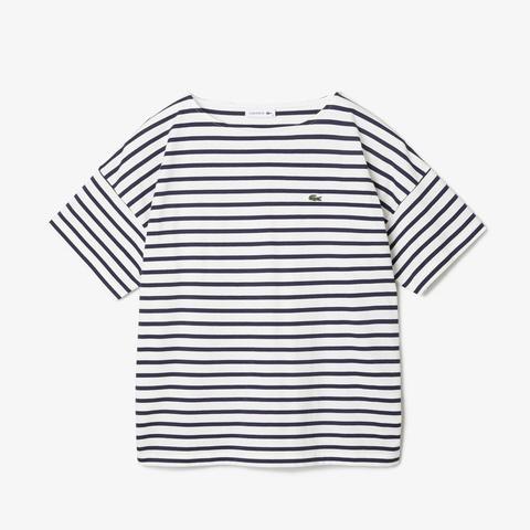 ラコステLACOSTEレディースウエアTシャツリラックスフィットストライプデザインボートネックTシャツ(38(Lサイズ)/ホワイト×ネイビー)TF102EL