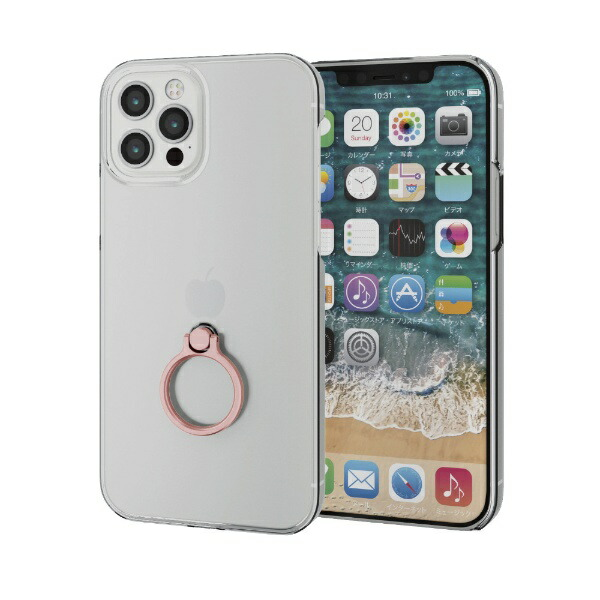 エレコムELECOMiPhone12/12Pro6.1インチ対応ハードケースリング付きピンク
