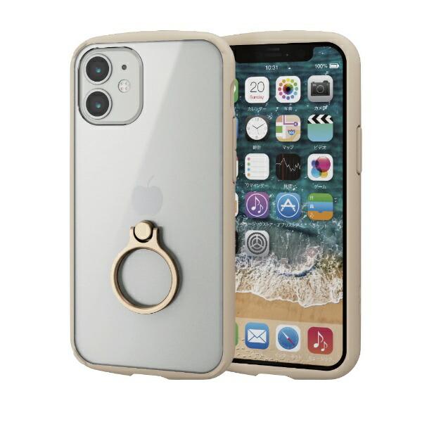 エレコムELECOMiPhone12mini5.4インチ対応ハイブリッドケースTOUGHSLIMLITEフレームカラーリング付きアイボリー