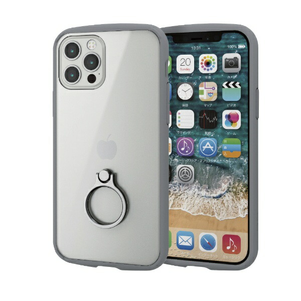 エレコムELECOMiPhone12/12Pro6.1インチ対応ハイブリッドケースTOUGHSLIMLITEフレームカラーリング付きグレー