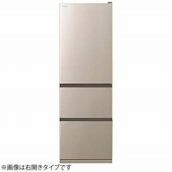 日立HITACHI《基本設置料金セット》冷蔵庫VタイプシャンパンR-V38NVL-N[3ドア/左開きタイプ/375L]【zero_emi】