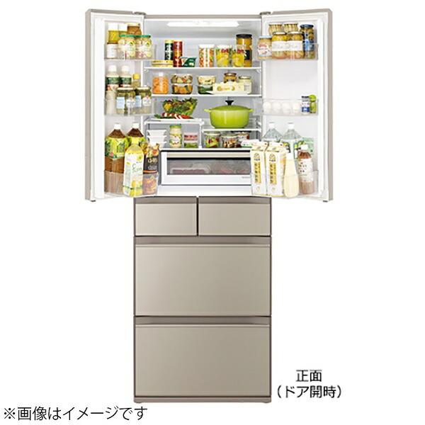 日立HITACHI《基本設置料金セット》冷蔵庫ぴったりセレクトKXタイプクリスタルミラーR-KX50N-X[6ドア/観音開きタイプ/498L]【zero_emi】